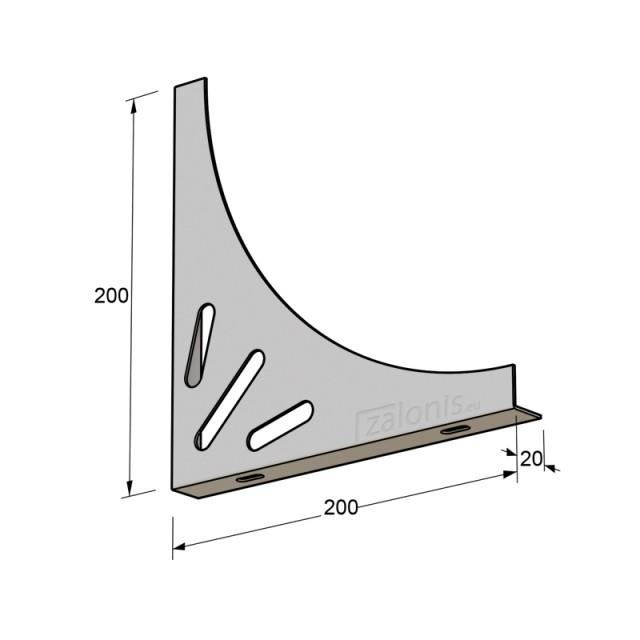 DELTA SHELF BRACKET 200x200x20, WHITE